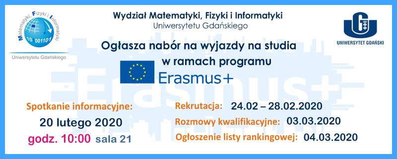 Nabór na wyjazdy w ramach programu ERASMUS