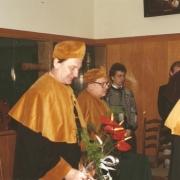 Prof. O. Leroy, Prof. A. Śliwińśki; od prawej (stoi): mgr P. Adamowicz, Członek Senatu UG